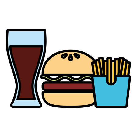 drink glass with french fries and hamburger over white background, vector illustration