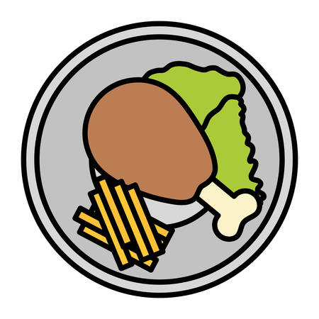 plate with Chicken thigh with salad and french fries over white background, vector illustration