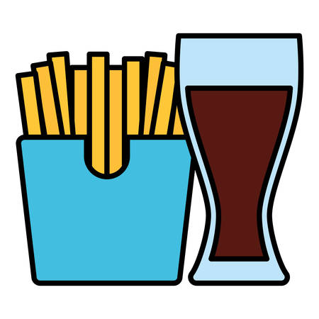 French fries box and glass drink over white background, vector illustration