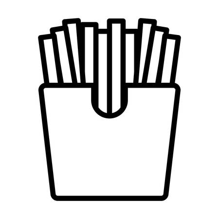 French fries box icon over white  background, vector illustration Ilustração