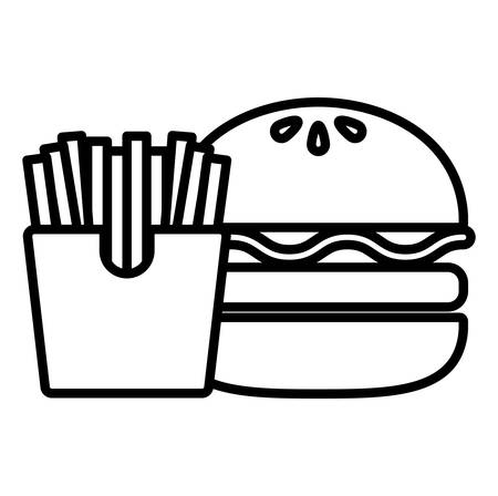 hamburger and french fries over white background, vector illustration 向量圖像