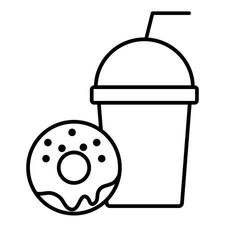 smoothie and sweet donut over white background, vector illustration