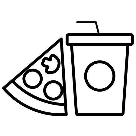 Soft drink cup and pizza over white background, vector illustration