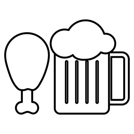 beer jar and Chicken thigh icon over white background, vector illustration
