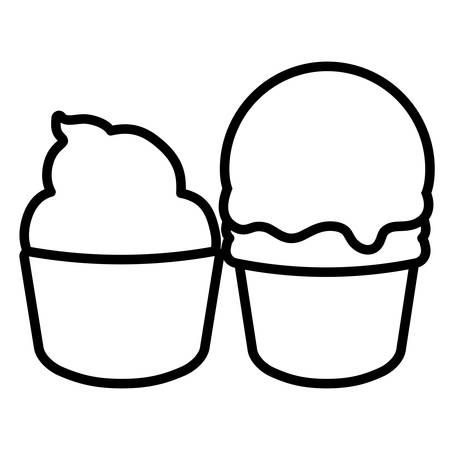 muffin and ice cream over white background, vector illustration
