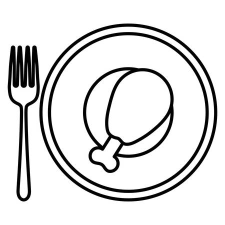 fork and plate with Chicken thigh icon over white background, vector illustration