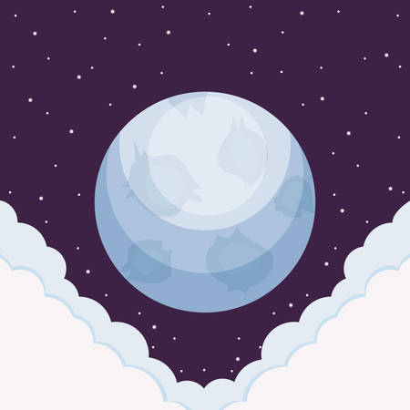 Moon over space background, colorful design. vector illustration