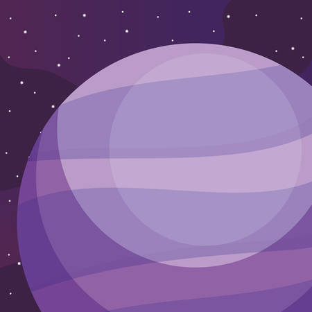 Neptune planet over space background, vector illustration