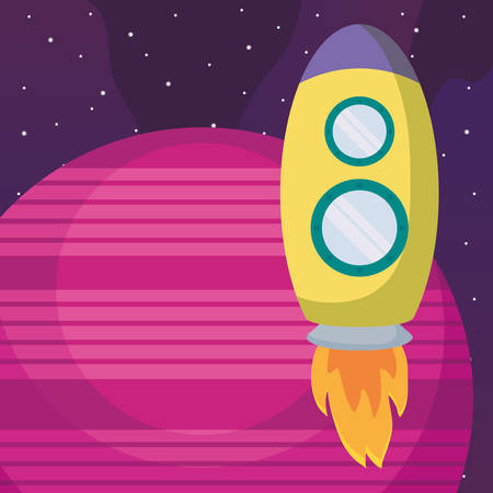 planet and Rocket icon over space background, colorful design. vector illustration