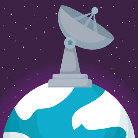 satellite dish on the earth planet over space background, vector illustration