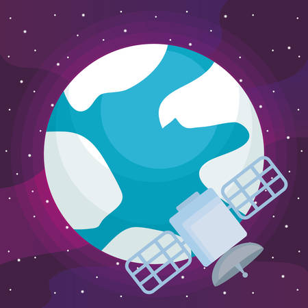 satellite and earth planet over space background, colorful design. vector illustration