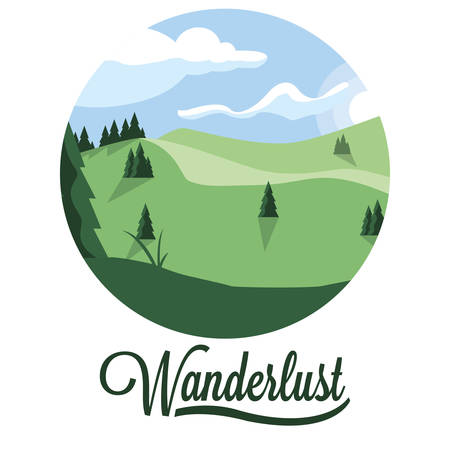 scene landscape forest wanderlust vector illustration design