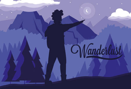 scene landscape forest with traveler wanderlust vector illustration design
