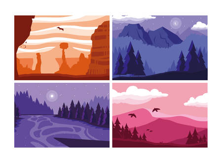 wanderlust poster with set of landscapes vector illustration design