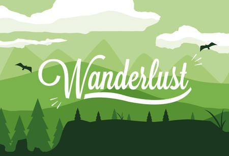 scene landscape forest wanderlust vector illustration design