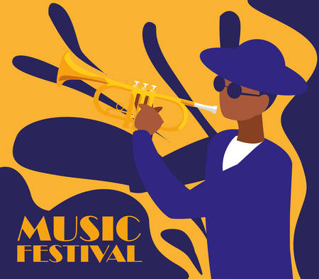 man playing trumpet instrument vector illustration design