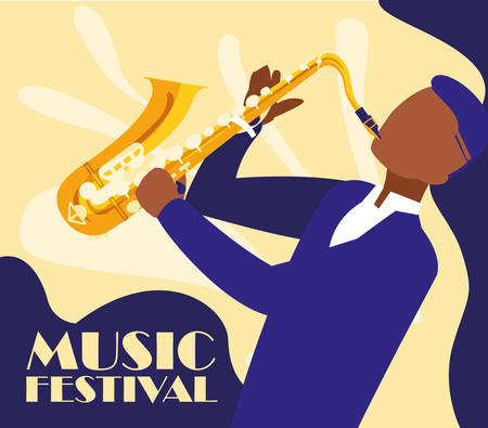man playing saxophone instrument vector illustration design