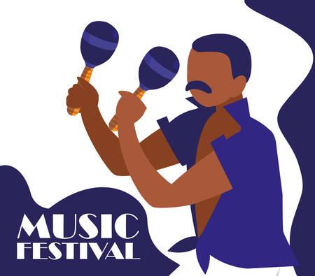 Man playing maracas instrument tropical vector illustration design