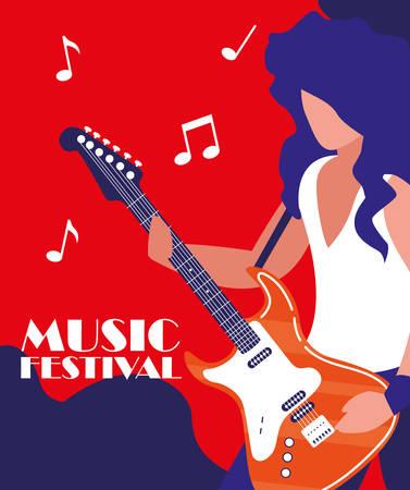 rocker man playing electric guitar vector illustration design  イラスト・ベクター素材