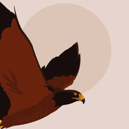 imposing hawk bird flying vector illustration design