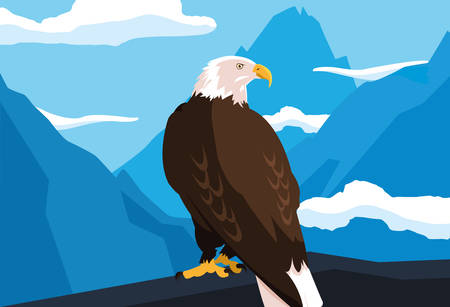 bald eagle bird in the branch with landscape vector illustration design