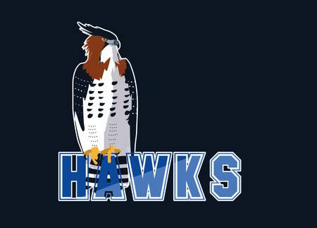 imposing hawks bird with word vector illustration design Vectores