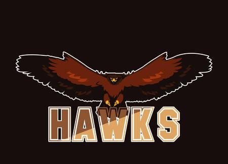 imposing hawk bird flying with word vector illustration design Vectores
