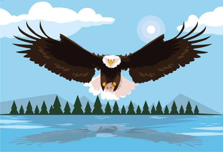 bald eagle bird flying with landscape vector illustration design Ilustrace