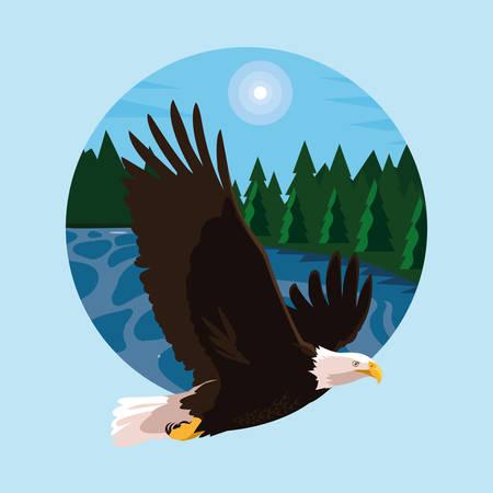 bald eagle bird flying with landscape vector illustration design Stock Illustratie
