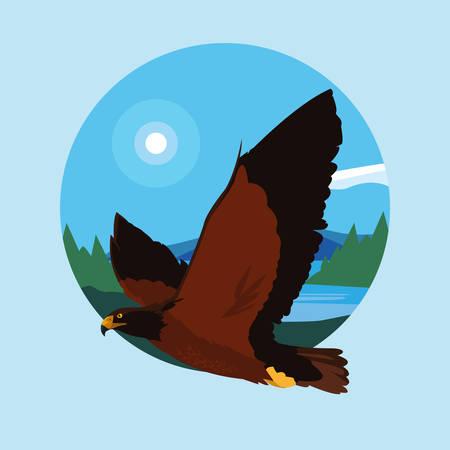 imposing hawk bird flying in the landscape vector illustration design