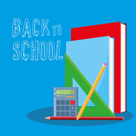back to school books and supplies vector illustration design