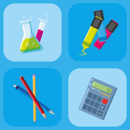 back to school set items vector illustration design