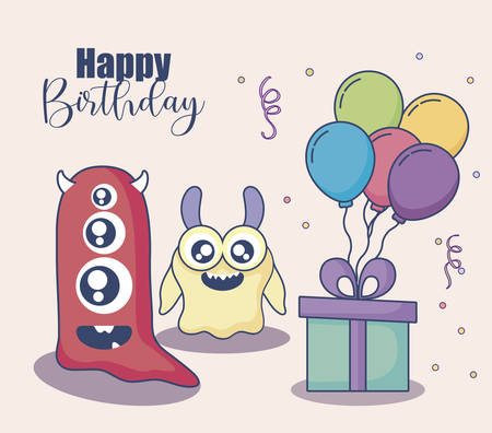 monsters with balloons helium and gift birthday card vector illustration design