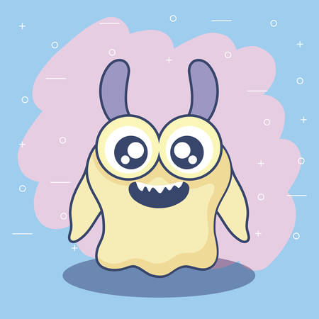 cute monster card icon vector illustration design 矢量图像