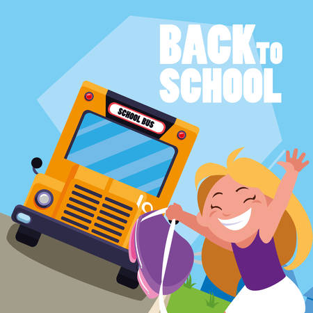 happy student girl in the school bus stop scene vector illustration design