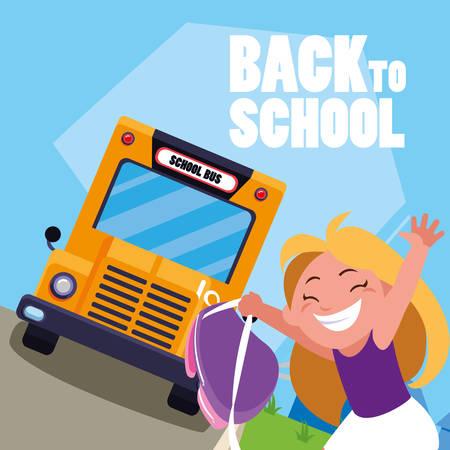 happy student girl in the school bus stop scene vector illustration design