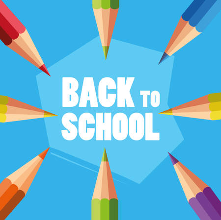 back to school set pencils colors vector illustration design
