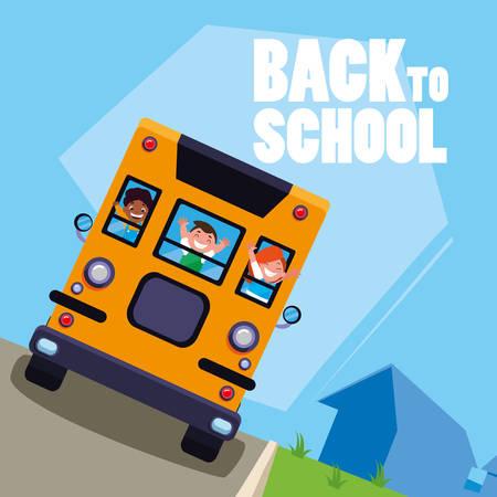 happy students kids in the school bus scene vector illustration design