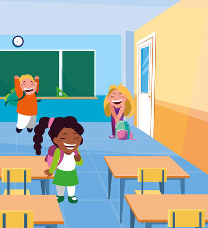 little students kids in the classroom vector illustration design