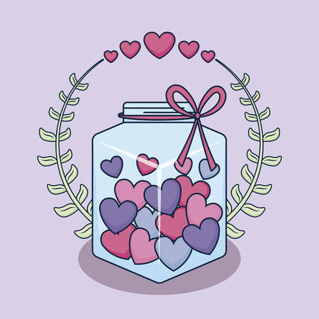 love card with jar and hearts vector illustration design Çizim