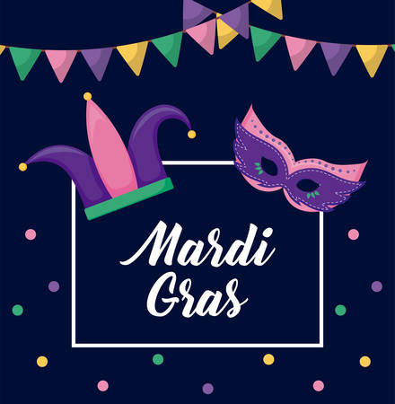 mardi gras card with joker hat and mask vector illustration design  イラスト・ベクター素材