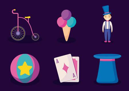 carnival celebration set icons vector illustration design Illustration