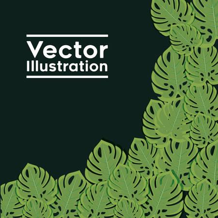 decorative frame with leafs plants pattern vector illustration design Ilustração