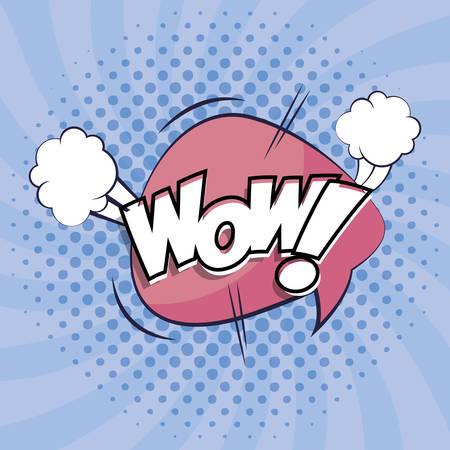 bolla di espressione con design di illustrazione vettoriale in stile pop art wow Vettoriali