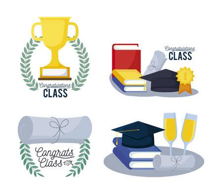 graduation class card set icons vector illustration design