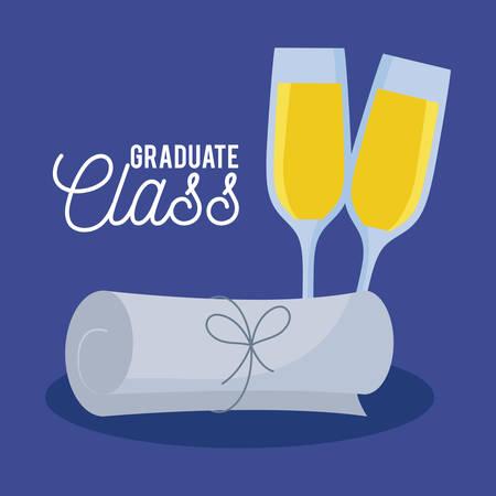 graduation class celebration card with diploma vector illustration design