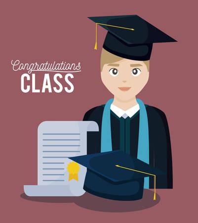 graduation class celebration card with graduated boy vector illustration design