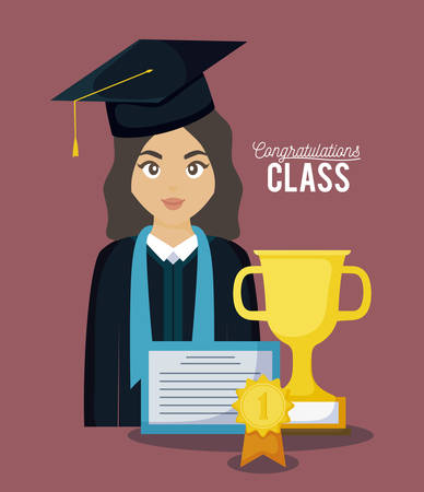 graduation class celebration card with graduated girl vector illustration design