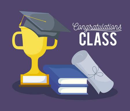 graduation class celebration card with hat and trophy vector illustration design Illustration