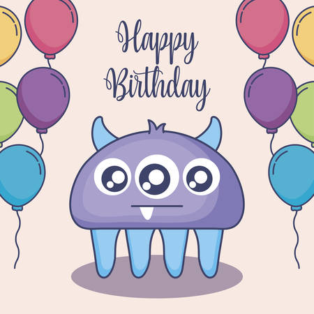 cute monster with balloons helium birthday card vector illustration design